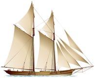 Skonare gaff-riggad seglingskyttel vektor illustrationer
