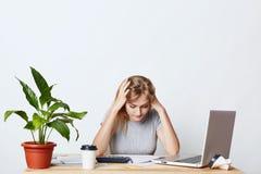 Skoncentrowana kobieta wymaga w rozwoju biznesu, czytający attentively dokument, próbuje rozumieć co robić, używać tryb Zdjęcia Royalty Free