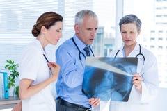Skoncentrowani medyczni koledzy egzamininuje promieniowanie rentgenowskie wpólnie obraz stock