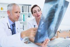 Skoncentrowani medyczni koledzy egzamininuje promieniowanie rentgenowskie wpólnie zdjęcie royalty free
