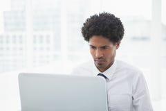 Skoncentrowany biznesmen patrzeje jego laptop zdjęcia royalty free