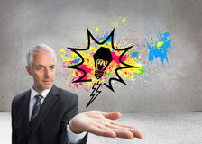 Skoncentrowany biznesmen z palmą up Zdjęcie Royalty Free