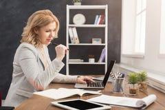 Skoncentrowany bizneswoman pracuje na laptopie przy biurem fotografia stock
