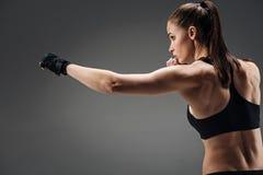 Skoncentrowany dziewczyna boks na popielatym tle zdjęcia royalty free