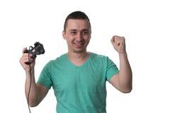 Skoncentrowany mężczyzna Bawić się Wideo gry Na Białym tle zdjęcie royalty free
