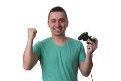 Skoncentrowany mężczyzna Bawić się Wideo gry Na Białym tle obraz royalty free