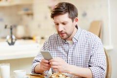 Skoncentrowany mężczyzna używa smartphone przy śniadaniem obraz stock
