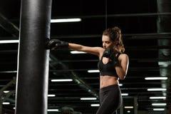 Skoncentrowany młody silny sport damy bokser obraz royalty free