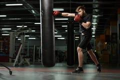 Skoncentrowany młody silny sporta mężczyzna bokser robi ćwiczeniom zdjęcie stock