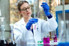 Skoncentrowany naukowiec robi eksperymentowi w laboratorium obrazy royalty free