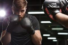 Skoncentrowany przystojny młody silny sporta mężczyzna bokser zdjęcia stock