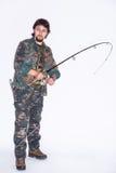 Skoncentrowany rybak z prąciem Zdjęcia Stock