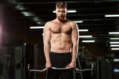 Skoncentrowany sporta mężczyzna robi sportów ćwiczeniom fotografia stock