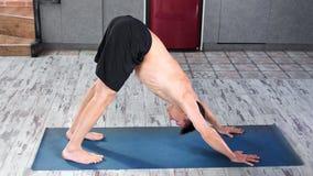 Skoncentrowanych męskich jogów ćwiczenia mistrzowski robi zmniejszający się pies na matowym wysokim kącie zbiory wideo