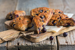 Skones from whole wheat flour and black currant. Stock Image