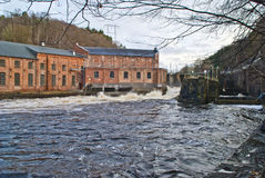 Skonningsfoss power plants. (previously developed as ankers power plant) is a hydropower plant at tistedalen in halden municipality in østfold county, the Royalty Free Stock Photo