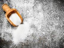 Skopa med socker Arkivbild