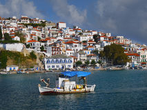 Skopelos Island Greece Landmark Travel. Skopelos island in Greece. View of the old port. The town of Skopelos was honoured as a Traditional Settlement of stock images
