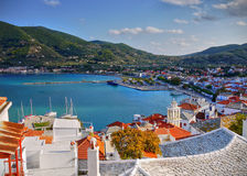 Skopelos Island Greece. View from the castle to the capital town of the island of Skopelos, Greece stock photos