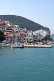 Skopelos island, Greek Sporades. View above from the port Royalty Free Stock Photo