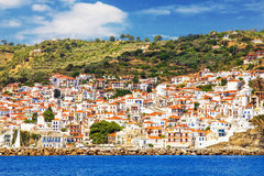 Skopelos Old Town as seen from the water Royalty Free Stock Image