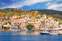 Skopelos Old Town as seen from the water Royalty Free Stock Images