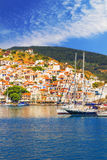 Skopelos Old Town as seen from the water Stock Image