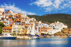 Skopelos Old Town as seen from the water Stock Photos