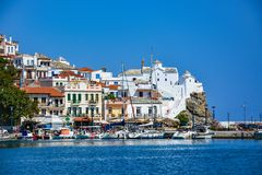 Skopelos old town and Panagitsa Tou Pirgou church Royalty Free Stock Images