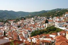 Skopelos stad i morgonen Royaltyfri Bild