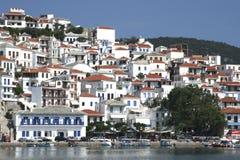 Skopelos Stadt stockfotografie