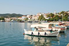 Skopelos Town harbour, Greece Royalty Free Stock Images