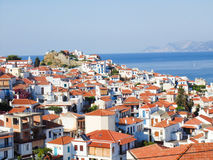 Skopelos town Stock Photo