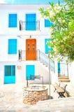 Skopelos tradizionale con la porta e le finestre dipinte, Grecia Fotografie Stock Libere da Diritti