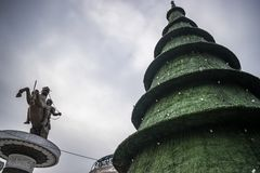 Skopje Christmas decorations royalty free stock photography