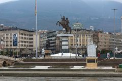 Skopje City Center and Alexander the Great Monument, Macedonia. SKOPJE, REPUBLIC OF MACEDONIA - FEBRUARY 24, 2018: Skopje City Center and Alexander the Great stock images