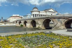 Skopje City Center and Archaeological Museum and Old Stone Bridge, Republic of Macedo. SKOPJE, REPUBLIC OF MACEDONIA - 13 MAY 2017: Skopje City Center and stock images