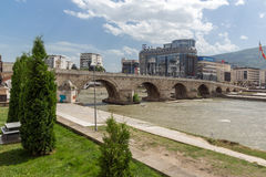 Skopje City Center, Old Stone Bridge and Vardar River, Republic of Macedonia Royalty Free Stock Photography