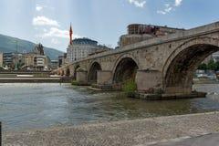 Skopje City Center, Old Stone Bridge and Vardar River, Republic of Macedonia Royalty Free Stock Photos
