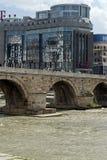 Skopje City Center, Old Stone Bridge and Vardar River, Republic of Macedonia Royalty Free Stock Image