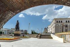 Skopje City Center, Old Stone Bridge and Vardar River, Republic of Macedonia Stock Images