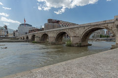 Skopje City Center, Old Stone Bridge and Vardar River, Republic of Macedonia Royalty Free Stock Images
