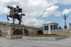 Skopje City Center, Old Stone Bridge and Vardar River, Republic of Macedonia Stock Photography
