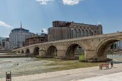 Skopje City Center, Old Stone Bridge and Vardar River, Republic of Macedonia Royalty Free Stock Photo