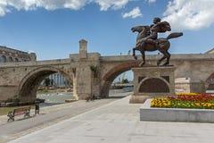 Skopje City Center, Old Stone Bridge and Vardar River, Republic of Macedonia Stock Image
