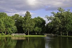 Skopje city park at summer Royalty Free Stock Photo