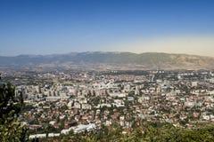 Skopje de la opinión panorámica de Vodno Foto de archivo libre de regalías