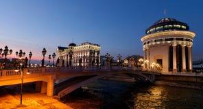 Skopje de stad in stock fotografie