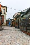 SKOPJE, DIE REPUBLIK MAZEDONIEN - 24. FEBRUAR 2018: Alter Basar-alter Markt in der Stadt von Skopje Stockbild