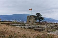 SKOPJE, DIE REPUBLIK MAZEDONIEN - 24. FEBRUAR 2018: Skopje-Festung Kohlfestung in der alten Stadt Lizenzfreies Stockbild